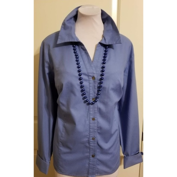 Rafaella Tops - Smokey blue textured buttoned top EUC Long sleeved